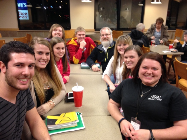 The crew stopped by Wendy's to get to debrief after the Saturday evening session.