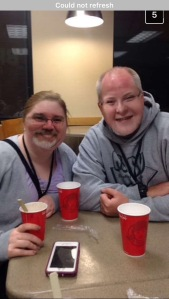 Jon Smith and Tracy Fisher at Wendy's using Face Swap app